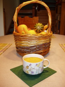 Basket of Fall squash and soup